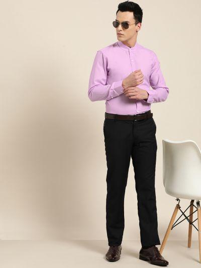 Sojanya (Since 1958), Mens Cotton Blend Purple Chinese Collar Shirt