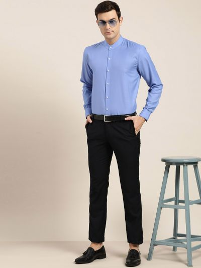Sojanya (Since 1958), Mens Cotton Blend Blue Chinese Collar Shirt