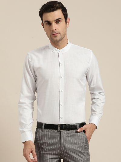 Sojanya (Since 1958), Mens Cotton Blend White Chinese Collar Shirt