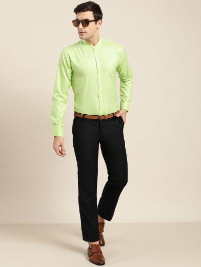 Sojanya (Since 1958), Mens Cotton Blend Green Chinese Collar Shirt