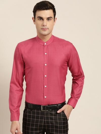 Sojanya (Since 1958), Mens Cotton Blend Coral Pink Chinese Collar Shirt