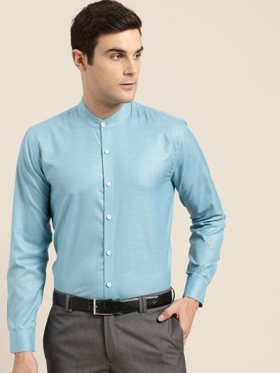 Sojanya (Since 1958), Mens Cotton Blend Turquoise Blue Chinese Collar Shirt