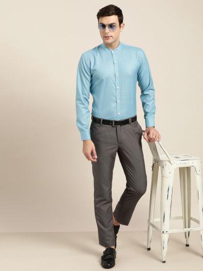 Sojanya (Since 1958), Mens Cotton Blend Turquoise Blue Chinese Collar Shirt