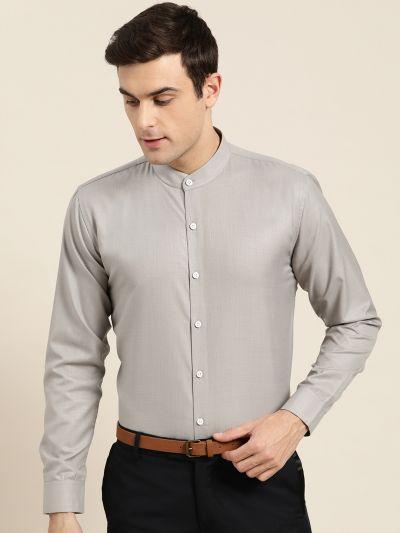 Sojanya (Since 1958), Mens Cotton Blend Grey Chinese Collar Shirt