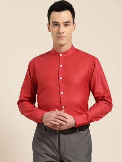 Sojanya (Since 1958), Mens Cotton Blend Red Chinese Collar Shirt