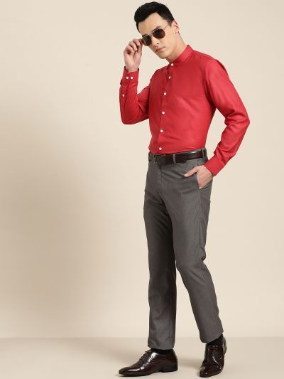Sojanya (Since 1958), Mens Cotton Blend Red Chinese Collar Shirt