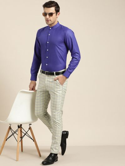 Sojanya (Since 1958), Mens Cotton Blend Royal Blue Chinese Collar Shirt