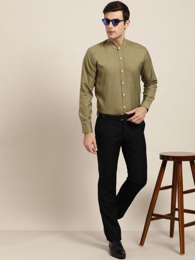 Sojanya (Since 1958), Mens Cotton Blend Olive Chinese Collar Shirt