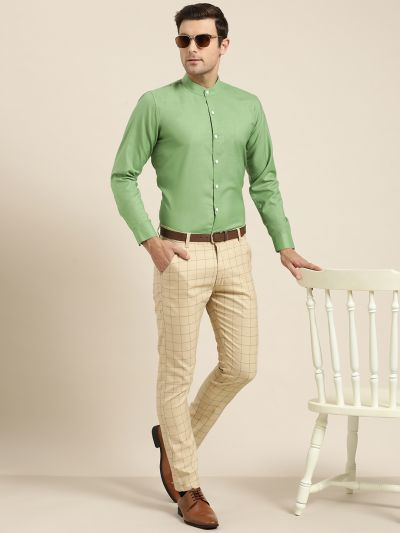 Sojanya (Since 1958), Mens Cotton Blend Pistachio Chinese Collar Shirt