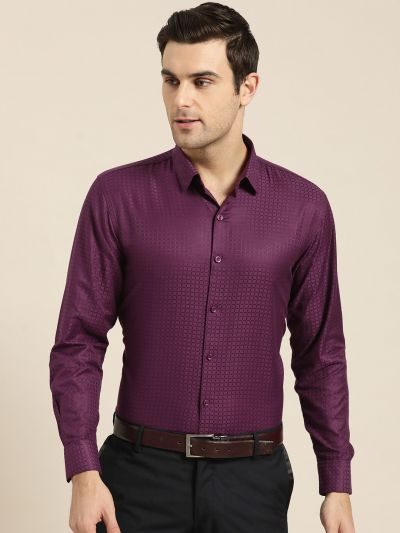 Sojanya (Since 1958), Men's Cotton Wine Checked Formal Shirt