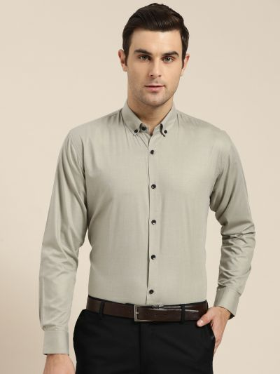 Sojanya (Since 1958), Men's Cotton Pista Green Formal Shirt
