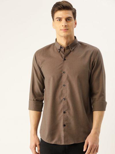 Sojanya (Since 1958), Men's Cotton Dark Brown Casual Shirt
