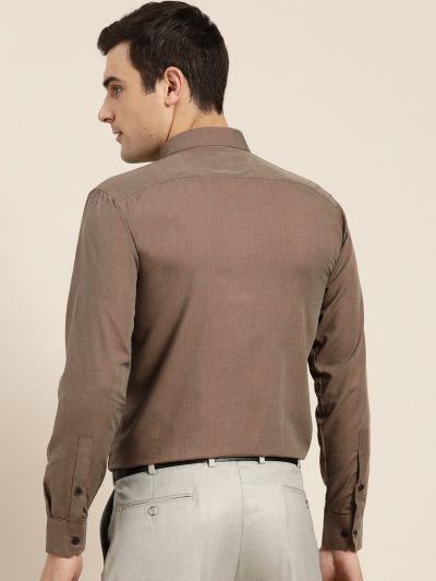 Sojanya (Since 1958), Men's Cotton Dark Brown Formal Shirt