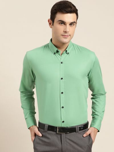 Sojanya (Since 1958), Men's Cotton Green Formal Shirt