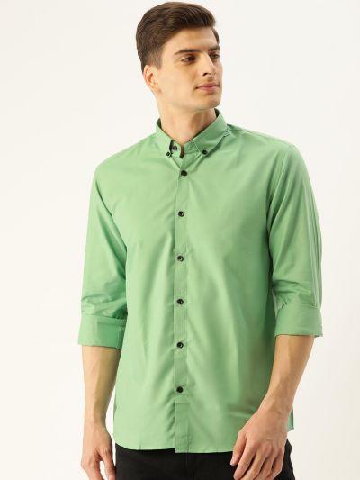 Sojanya (Since 1958), Men's Cotton Green Casual Shirt