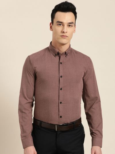 Sojanya (Since 1958), Men's Cotton Wine Formal Shirt