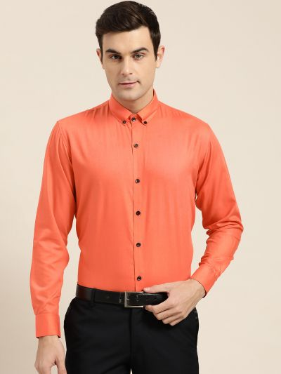 Sojanya (Since 1958), Men's Cotton Orange Formal Shirt