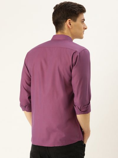 Sojanya (Since 1958), Men's Cotton Violet Casual Shirt