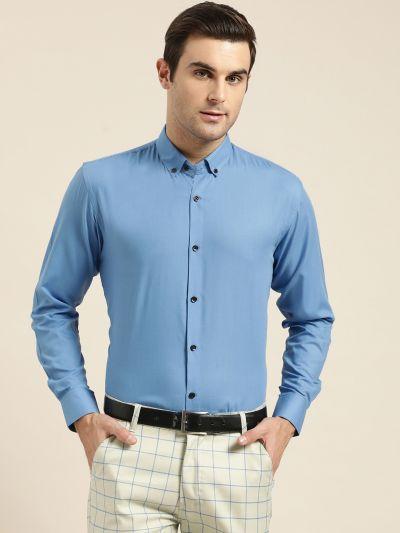 Sojanya (Since 1958), Men's Cotton Blue Formal Shirt