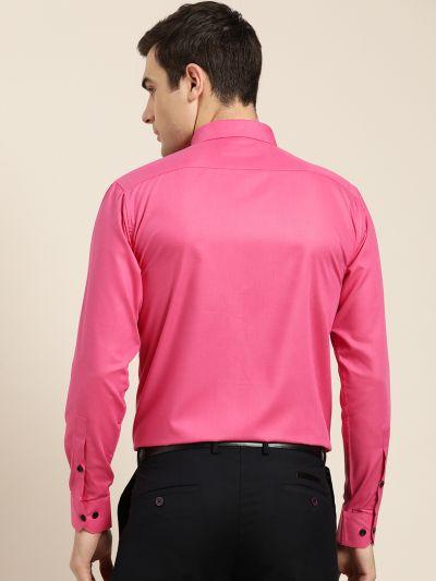 Sojanya (Since 1958), Men's Cotton Dark Pink Formal Shirt