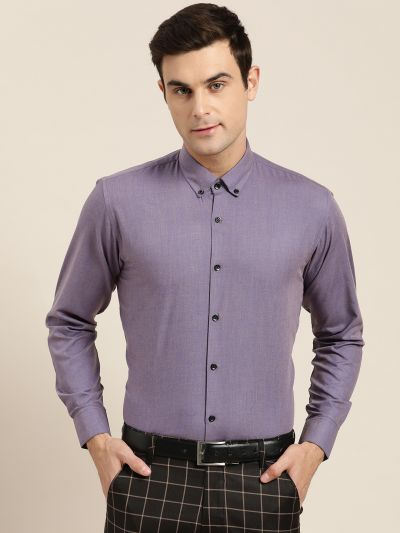 Sojanya (Since 1958), Men's Cotton Purple Formal Shirt