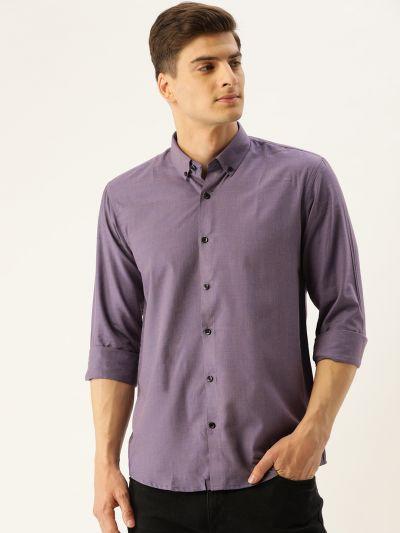 Sojanya (Since 1958), Men's Cotton Purple Casual Shirt