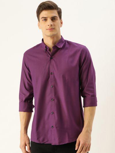 Sojanya (Since 1958), Men's Cotton Dark Purple Casual Shirt