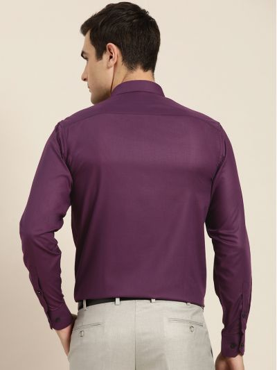 Sojanya (Since 1958), Men's Cotton Dark Purple Formal Shirt