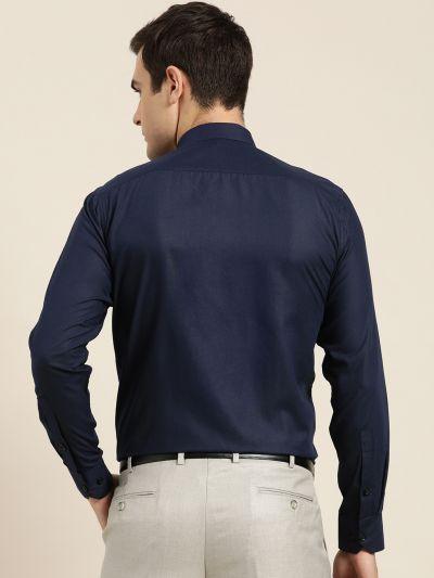 Sojanya (Since 1958), Men's Cotton Navy Blue Formal Shirt
