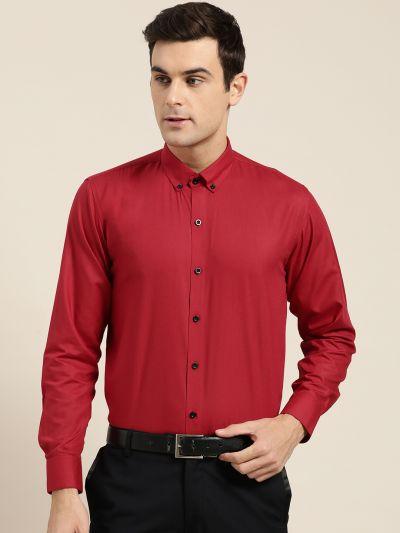 Sojanya (Since 1958), Men's Cotton Red Formal Shirt