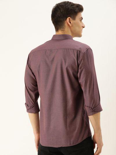 Sojanya (Since 1958), Men's Cotton Wine Casual Shirt