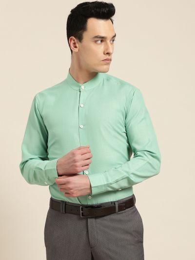 Sojanya (Since 1958), Mens Cotton Blend Sea Green Chinese Collar Shirt