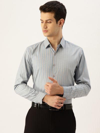 Sojanya (Since 1958), Mens Cotton Grey & Blue Checked Formal Shirt