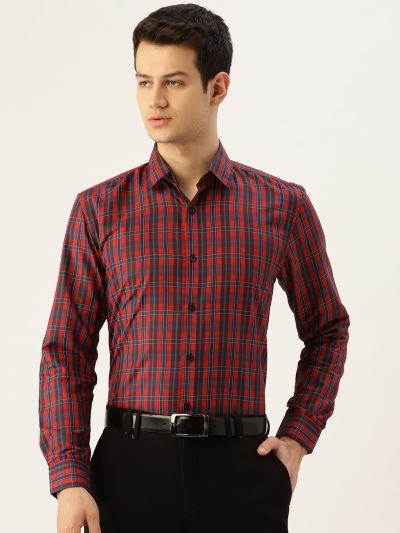 Sojanya (Since 1958), Mens Cotton Red & Navy Blue Checked Formal Shirt
