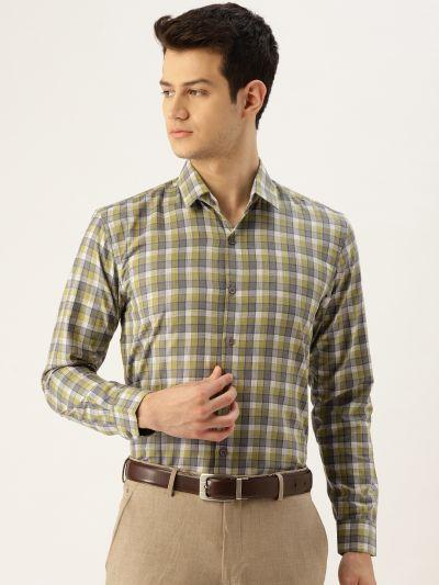 Sojanya (Since 1958), Mens Cotton Green & Blue Checked Formal Shirt
