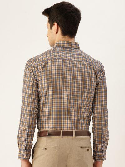 Sojanya (Since 1958), Mens Cotton Brown & Taupe Checked Formal Shirt