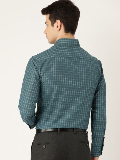 Sojanya (Since 1958), Mens Cotton Bottle Green & Sea Green Checked Formal Shirt