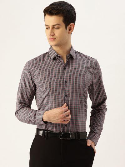 Sojanya (Since 1958), Mens Cotton Red & Multi Checked Formal Shirt