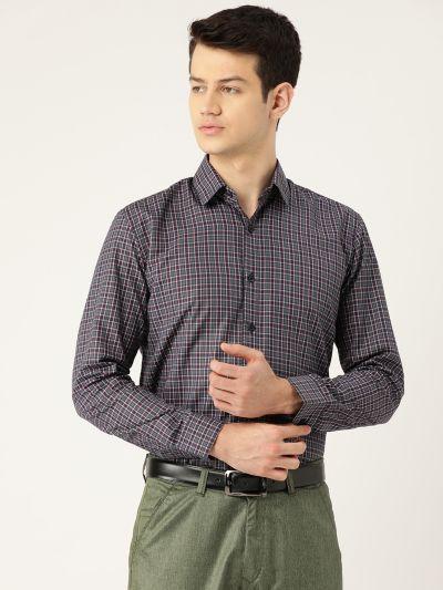 Sojanya (Since 1958), Mens Cotton Navy Blue & Grey Checked Formal Shirt