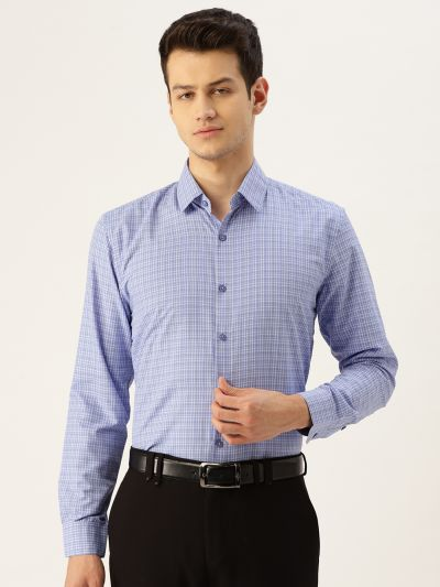 Sojanya (Since 1958), Mens Cotton Blue & Off White Checked Formal Shirt