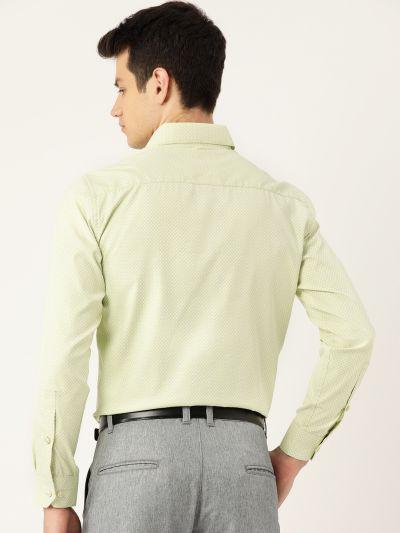Sojanya (Since 1958), Mens Cotton Green & Off White Checked Formal Shirt