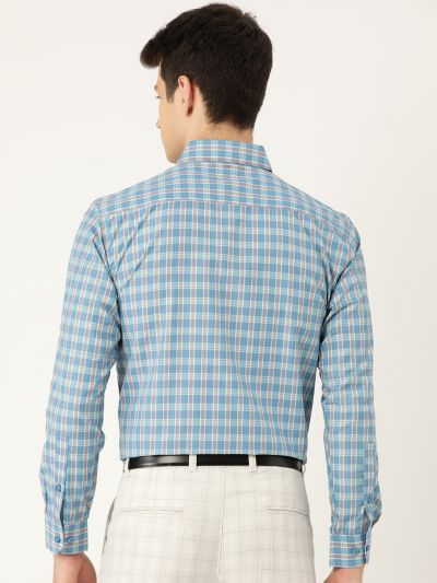 Sojanya (Since 1958), Mens Cotton Teal Blue & Off White Checked Formal Shirt