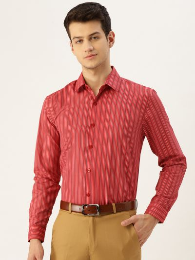 Sojanya (Since 1958), Mens Cotton Red & Multicolored Striped Formal Shirt