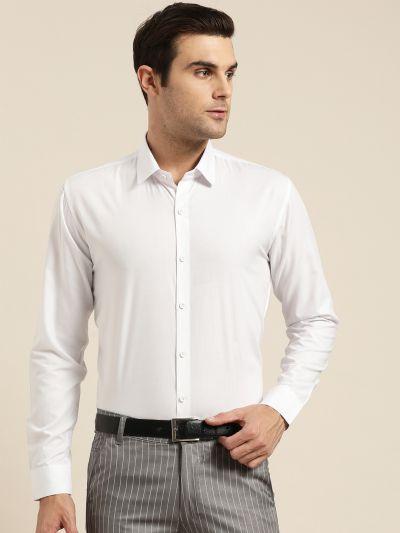 Sojanya (Since 1958), Men's Cotton White Classic Formal Shirt