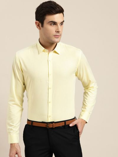 Sojanya (Since 1958), Men's Cotton Lemon Yellow Classic Formal Shirt