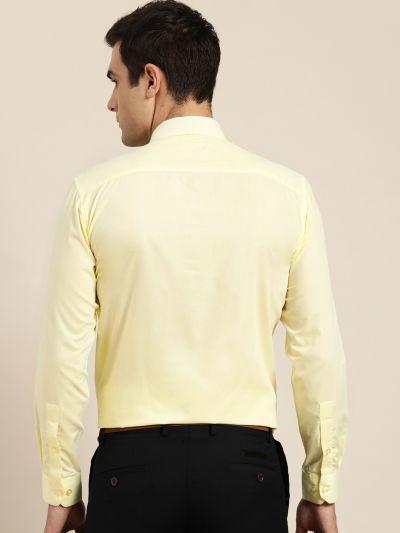 Sojanya (Since 1958), Men's Cotton Lemon Yellow Classic Formal Shirt