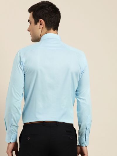 Sojanya (Since 1958), Men's Cotton Sky Blue Classic Formal Shirt
