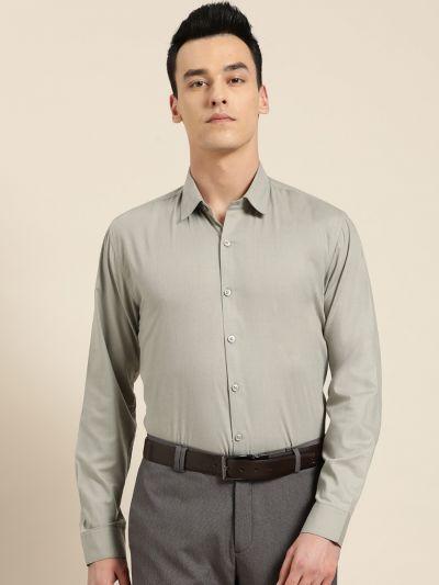 Sojanya (Since 1958), Men's Cotton Pista Green Classic Formal Shirt