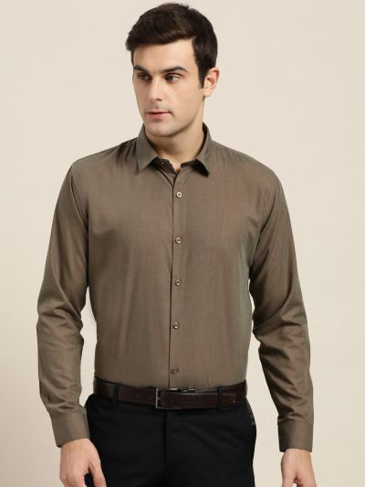 Sojanya (Since 1958), Men's Cotton Dark Brown Classic Formal Shirt