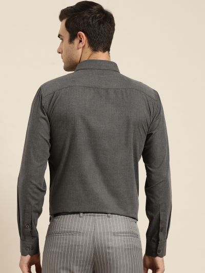 Sojanya (Since 1958), Men's Cotton Charcoal Grey Classic Formal Shirt